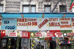 Hand-lettered signs, San Gennaro festival, Mulberry Street, Manhattan