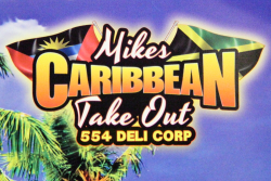 Mike's Caribbean Take Out logo with flags of Antigua and Jamaica, Melrose, Bronx