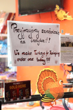 Thanksgiving signage in Polish, English, and decals, Smak Deli, Ridgewood, Queens