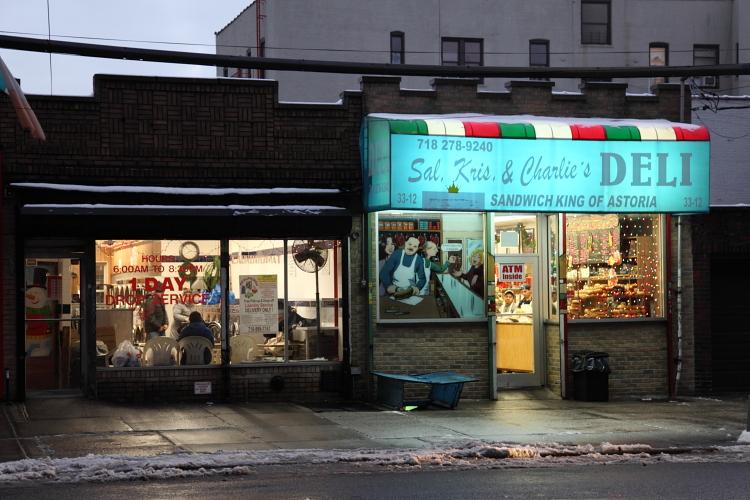 Sal, Kris & Charlie's Deli and neighbor, Astoria, Queens