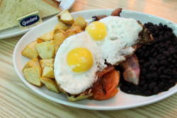 Full English breakfast, albeit with black beans, Kirsh Bakery & Kitchen, Amsterdam Ave, Manhattan