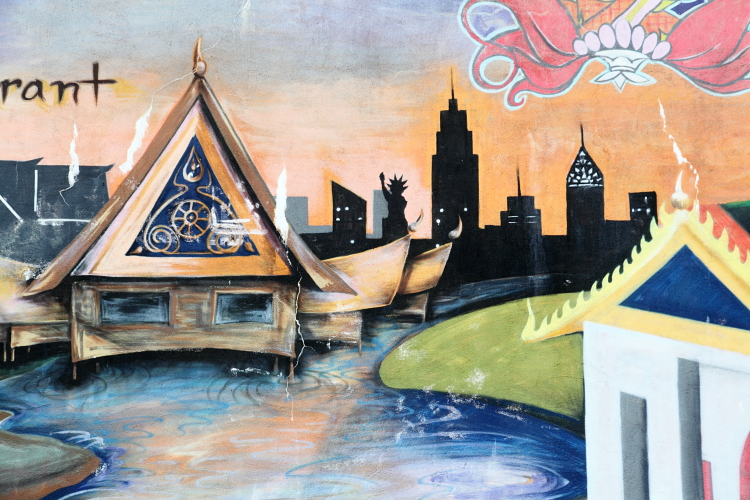 Mural (detail of Thai architecture and New York skyline), BKNY Thai Restaurant, Bayside, Queens