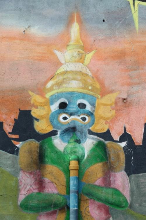 Mural (detail of yaksha incorporating drainpipe), BKNY Thai Restaurant, Bayside, Queens