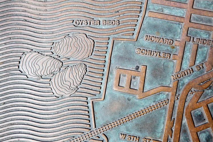Oyster beds, NJTransit map, Exchange Place, Jersey City