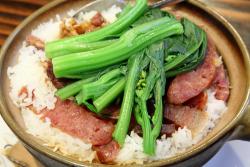 Claypot rice with duck, pork, and sausage, Luscious Restaurant, Bensonhurst, Brooklyn