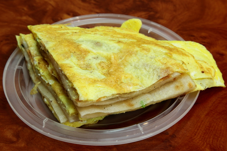 Green onion pancake with egg, Ma's Food Market, Flushing, Queens
