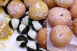 Naranjas cristalizadas y limones rellenos de cocada, candied oranges and coconut-stuffed limes, El Popo Mini Market, Jackson Heights, Queens