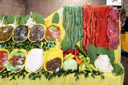 Display of raw ingredients  Cabana Dona Esthela  Lagunas de Zempoala National Park  Mexico