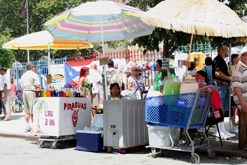 Ices and drinks vendors at the Salsa Street Party  Spanish Harlem  New York