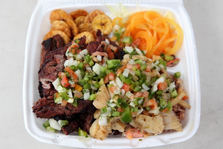 Caracol asado  carne asada  and accompaniments  Central American Festival  Crotona Park  Bronx