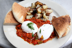 Tunisian eggs  Cafe Orlin  St Mark's Pl  Manhattan