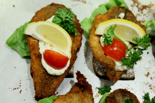 Fish filet smorrebrod  Danish Seamen's Church Christmas Fair  Plymouth Church  Brooklyn Heights  Brooklyn