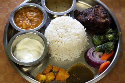 Thali with fried catfish  Hamro Bhim's Cafe  Jackson Heights  Queens
