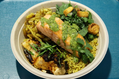 Bowl featuring tamarind glazed salmon  OK  Queens Crossing Mall  Flushing  Queens