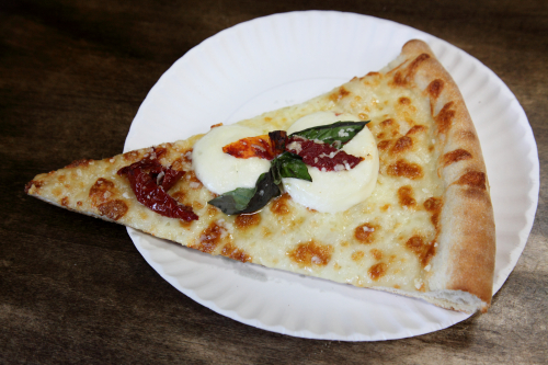 Pizza with mozzarella  basil  and sundried tomato  Aita Pizzeria  Clinton Hill  Brooklyn