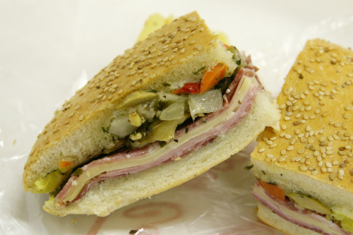 Muffuletta (half  unwrapped)  Central Grocery  New Orleans