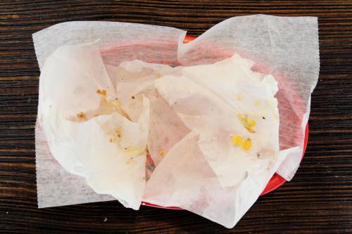 Leavings of X egg burger  New York Pao de Queijo  Astoria  Queens