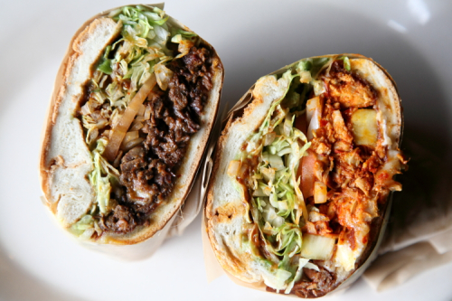 Tortas de bistec en pasilla y al pastor  marinated beef and pork sandwiches  Chela y Garnacha  Astoria  Queens