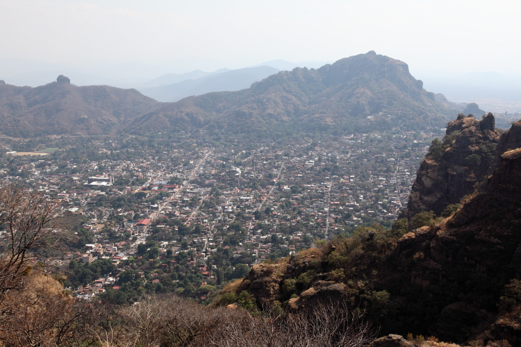 View of Tepoztlan from Sierra Tepoztlan  Morelos  Mexico