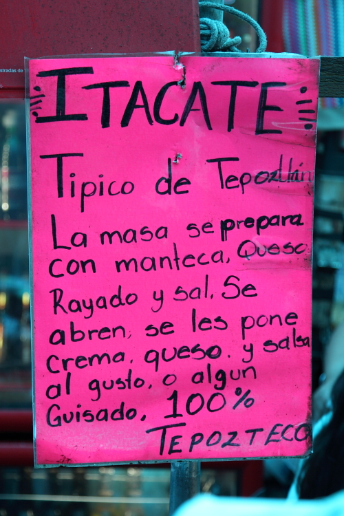 Food stall's explanation of an itacate  Tepoztlan  Morelos  Mexico