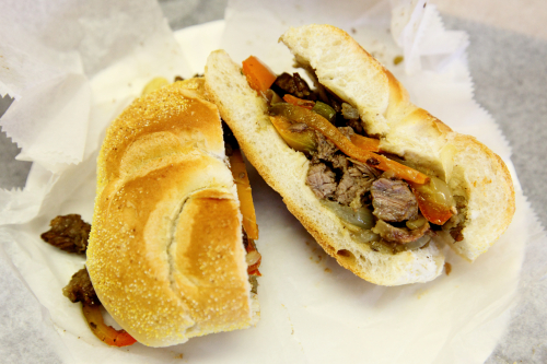 Steak and peppers on a roll  Bari Sandwich Shop  Sunset Park  Brooklyn