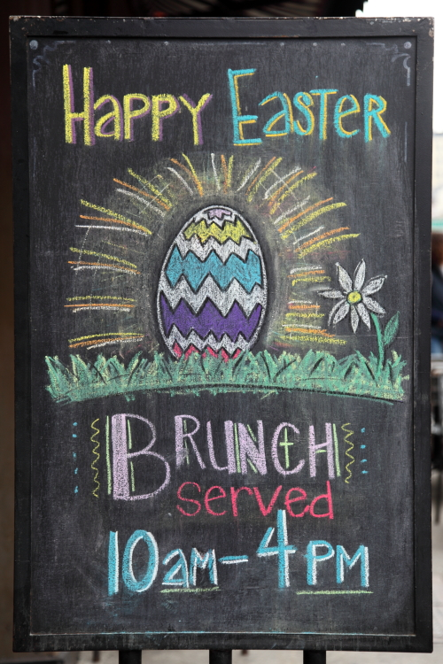 Happy Easter  hand-drawn signboard  Mel's Burger  Broadway  Manhattan