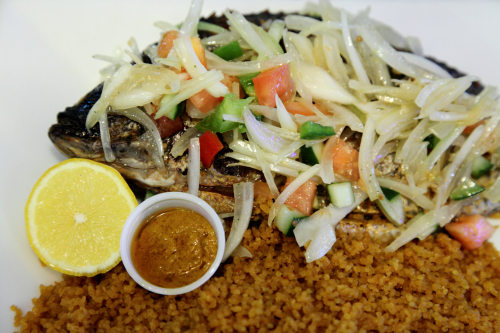 Grilled tilapia with jollof rice  Le Wafou  Fordham Heights  Bronx