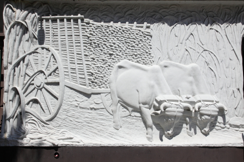 Surviving but whitewashed bas relief from Victor's Cafe  now the site of Oxbow Tavern  Columbus Ave  Manhattan