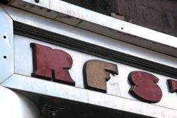 %22Restaurant%22 (detail of lettering made from fiberboard), surviving signage, Manhattan