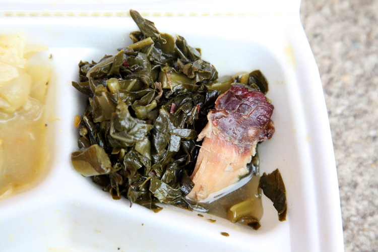 Collard greens (detail of turkey), Edna's Soul Food, Brownsville, Brooklyn