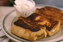 Cheese blintzes, Cafe Edison, West 47th Street, Manhattan