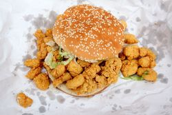 Fried shrimp and oyster sandwich, Manchu Food Store, New Orleans