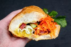 Chinese sausage and egg banh mi (biteaway view), Pho Cam Ly, New Orleans