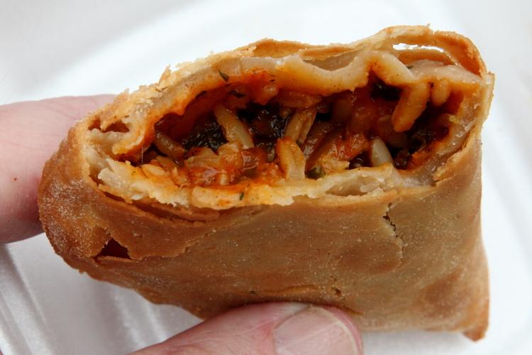 Crawfish hand pie (biteaway view), QuarterMaster, New Orleans