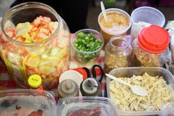 Fixings for bubur ayam, Indonesian bazaar at City Blessing Church, Woodside, Queens
