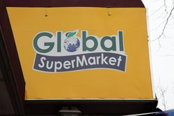 Global Supermarket with leafy-globe %22O,%22 Jackson Heights, Queens