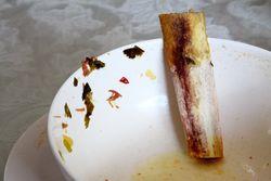 Leavings of caldo de res, Jireh Restaurant, Bath Beach, Brooklyn