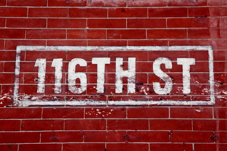Distressed painted street sign, Streetbird Rotisserie, Frederick Douglass Boulevard, Manhattan