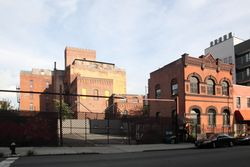 Former offices of Joseph Fallert Brewing (right) and bottling plant (left), Williamsburg, Brooklyn