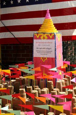 Sand stupas at the Songkran festival, Wat Buddhathai Thavorn Vanaram, Elmhurst, Queens