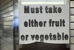 Must take either fruit or vegetable, school lunchroom, Elmhurst, Queens