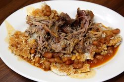 Pernil, concon, and beans, Bello Deli, Broadway, Manhattan