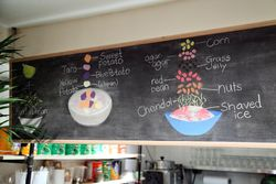 Hand-drawn illustrations of dessert ingredients, Wok Wok, Mott Street, Manhattan