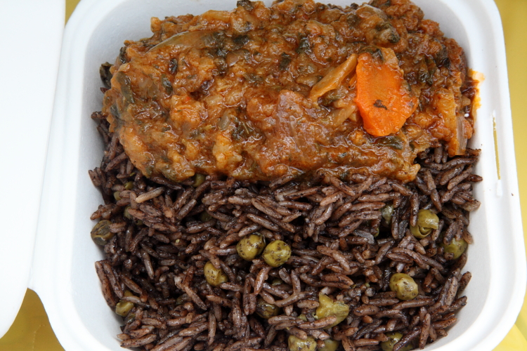 Legumes and black rice, Harlem Karibe, Go Africa festival, West 116th Street, Manhattan