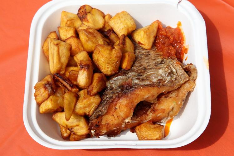Fried plantain and fried tilapia, La Savane, Go Africa festival, West 116th Street, Manhattan