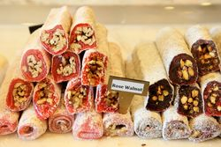 Rose walnut and sour cherry pistachio Turkish delight, The Nut House, Paterson, New Jersey