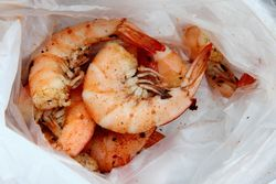 Boiled shrimp, Crab Man Mike, East 125th Street, Manhattan