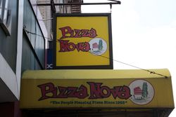 Pizza Nova artwork with imagery from Rome, Pisa, and Venice, Dyckman St, Manhattan