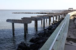 Remains of a boardwalk destroyed by Hurricane Sandy, Atlantic City, New Jersey