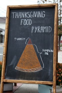 Thanksgiving food pyramid, hand-drawn artwork, Erie Coffeeshop & Bakery, Rutherford, New Jersey